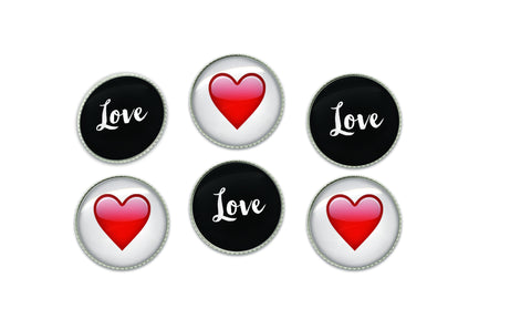 Love and Red Emoji Heart Button Set | Handcrafted USA