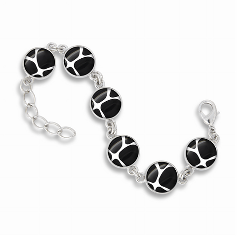 Link Charm Bracelet Featured in the Zoolander Black & White Giraffe Print