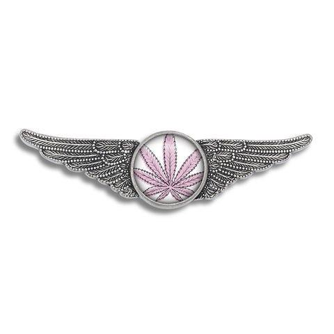 Cannabis Icon-O-Pop Collection Aviator Wing Pin (Line Illustrated Puff-Pass Pink)