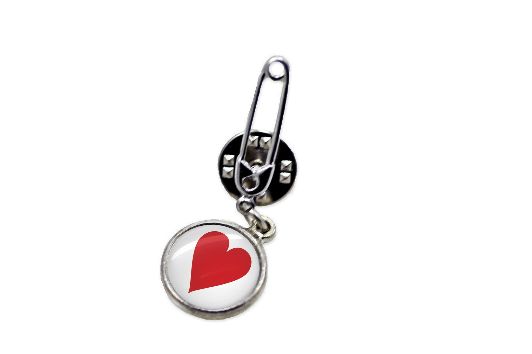 Heart Safety Pin Brooch   Handcrafted Usa