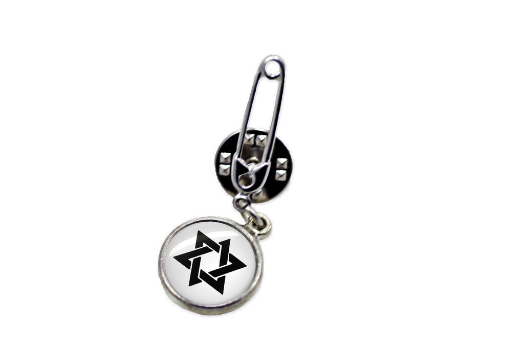Star of David Safety Pin Brooch