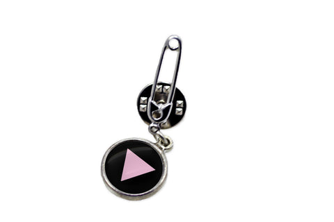 LGBT Pink Triangle Safety Pin Brooch - Handcrafted USA