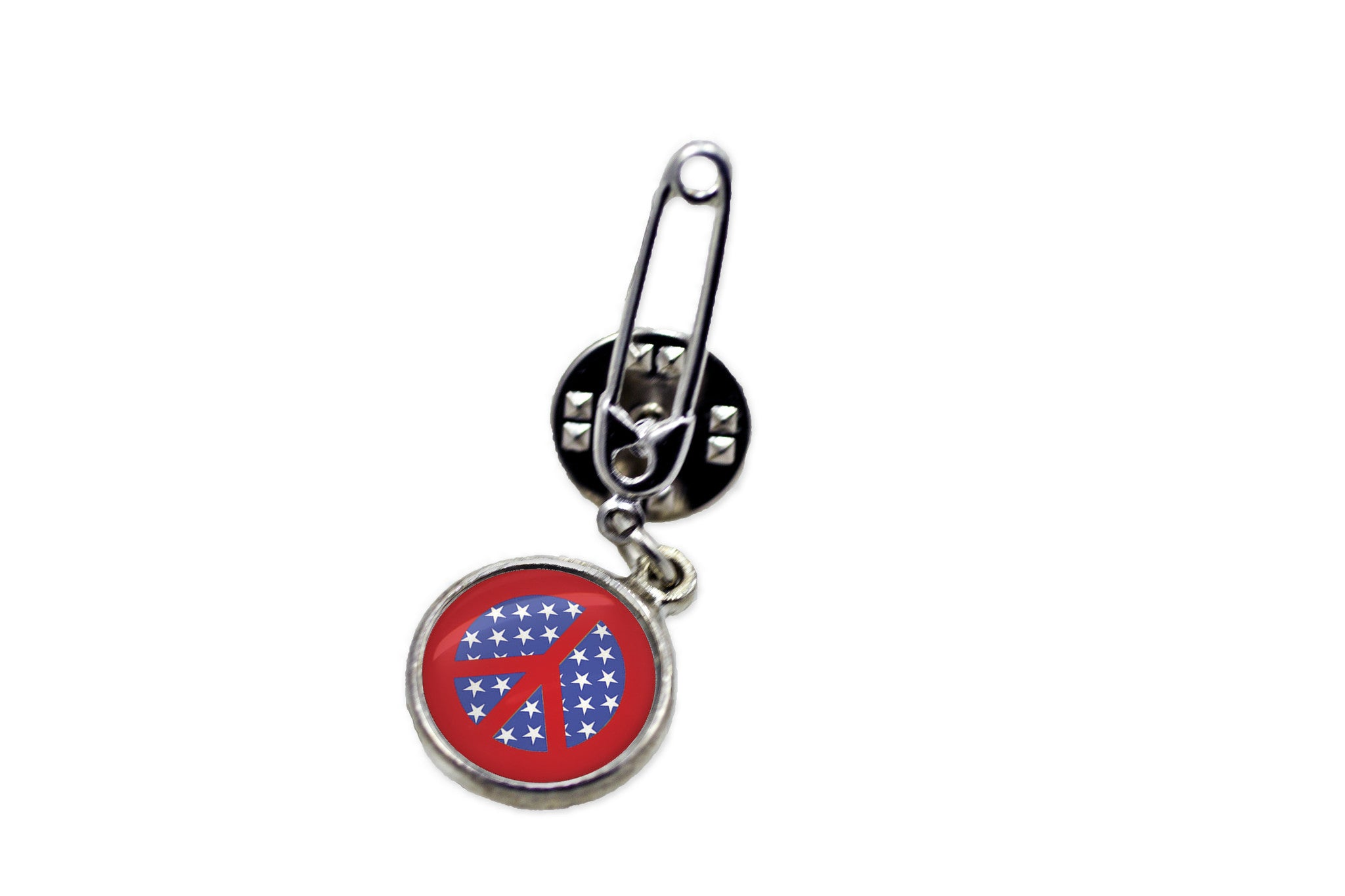 American Flag Peace Sign Safety Pin Brooch  ...