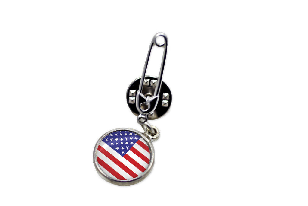 American Flag Safety Pin Brooch - Handcrafted USA