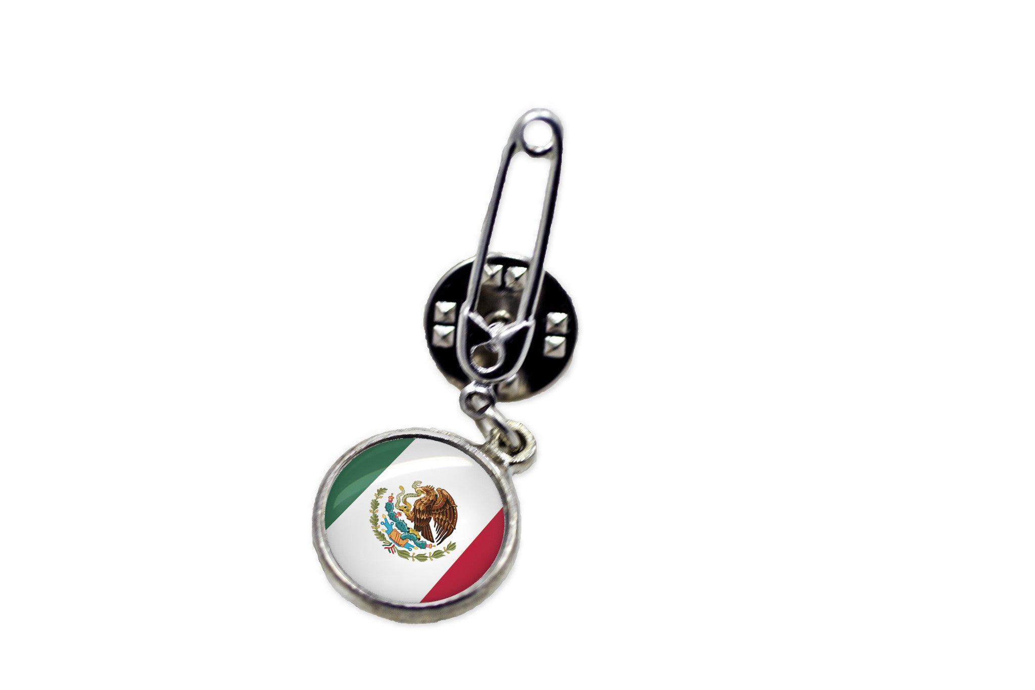 Mexican Flag Safety Pin Brooch   Handcrafted Usa