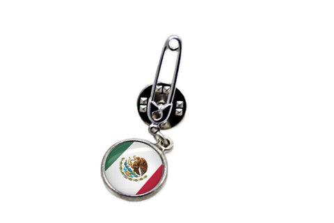Mexican Flag Safety Pin Brooch | Handcrafted USA