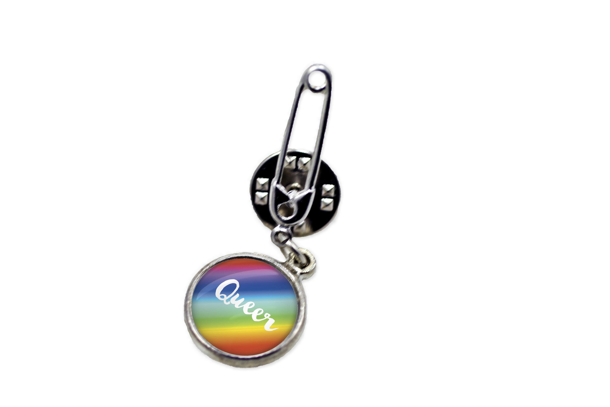 Queer Rainbow Pride Flag Safety Pin Brooch  ...