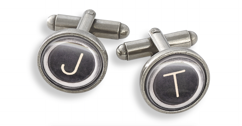 Pewter Cufflink Set in 13mm Featuring Initials from the Typewriter Key Collection