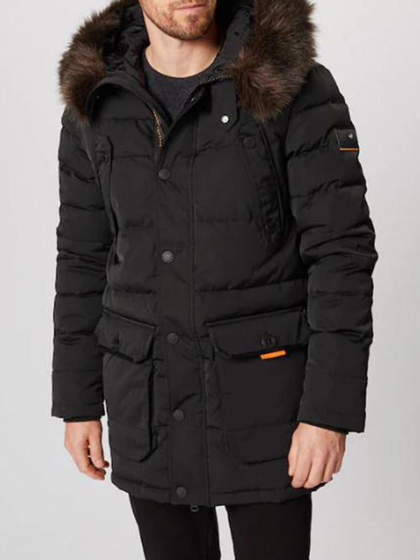 Plain Mid-Length Patchwork Simple Zipper Down Jacket