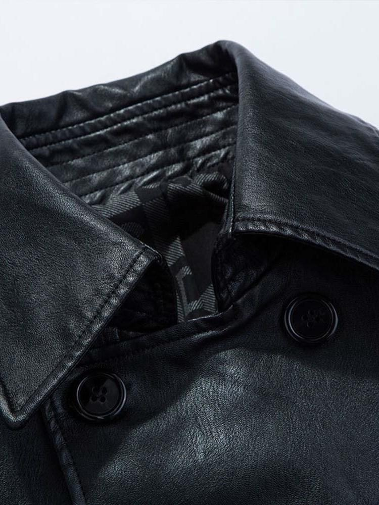 Plain Mid-Length Lapel Double-Breasted Slim Leather Jacket