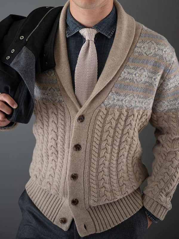 Color Block Standard Casual Single-Breasted Sweater