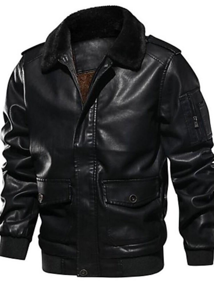 Plain Lapel Patchwork Casual Winter Jacket