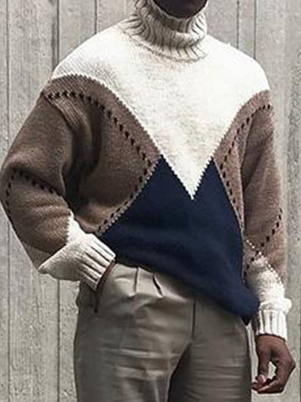 Mid-Length Turtleneck Color Block Loose Casual Sweater