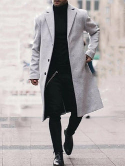 Plain Long Button Fashion Straight Coat
