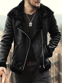 Lapel Plain Pocket Slim Fall Jacket