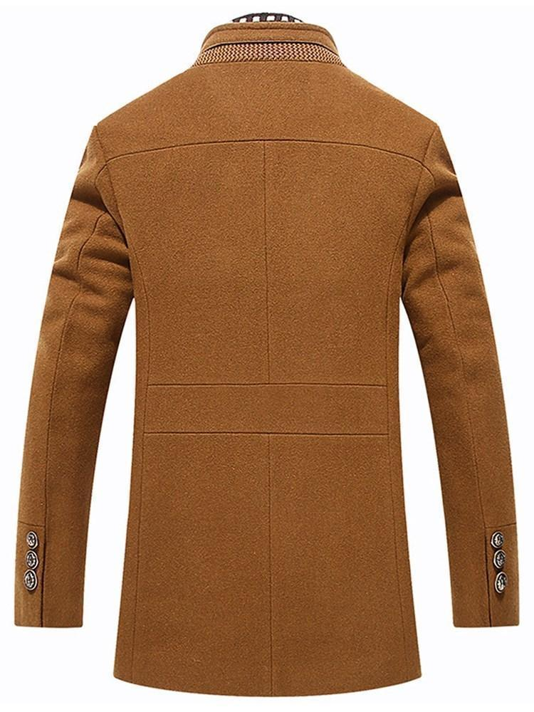 Stand Collar Standard Plain Fall Slim Coat