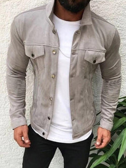 Plain Patchwork Lapel Casual Single-Breasted Jacket
