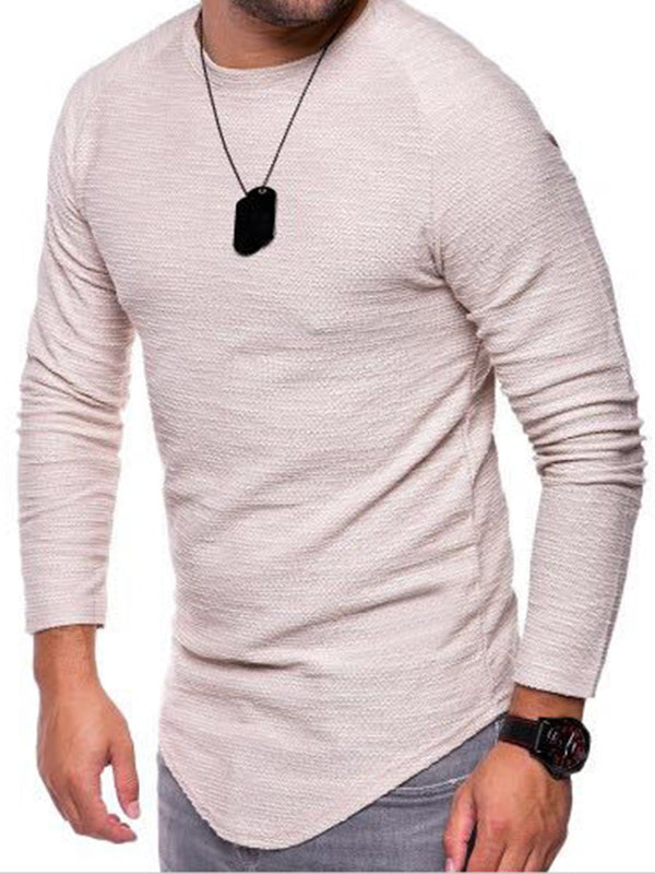 Round Neck Long Sleeve Wrapped T-shirt