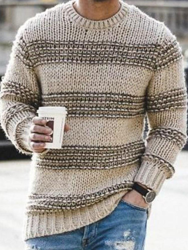 Standard Color Block Round Neck Loose Casual Sweater