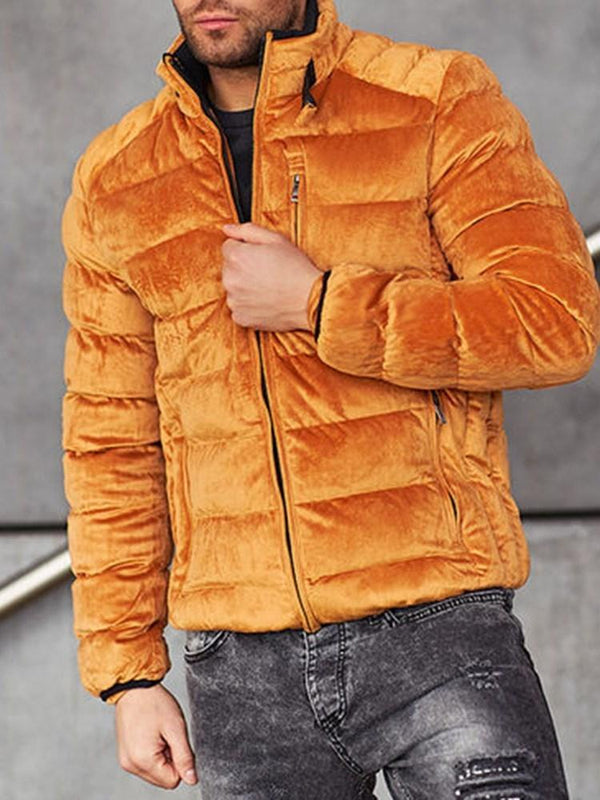 Plain Turtleneck Standard Casual Zipper Down Jacket