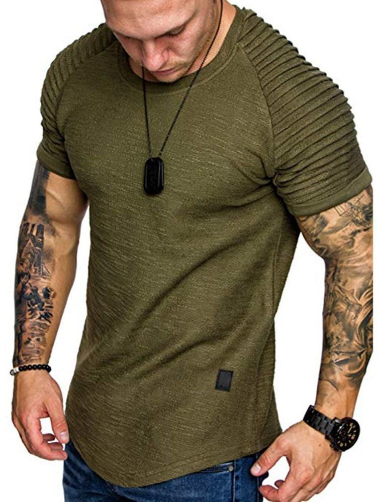 Casual Round Neck Pleated Short Sleeve Slim T-shirt