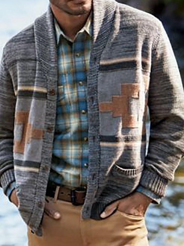 Patchwork Geometric Standard Single-Breasted Winter Sweater