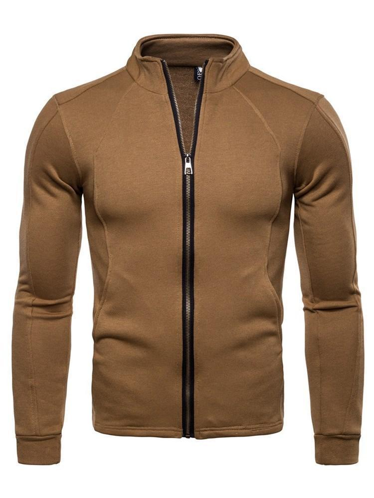 Plain Cardigan Casual Zipper Hoodies