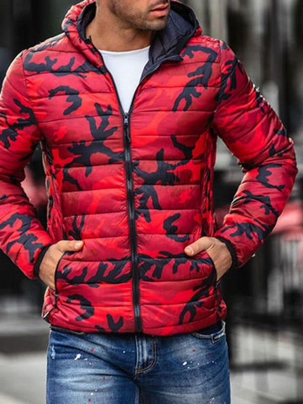 Hooded Standard Print Zipper Casual Down Jacket