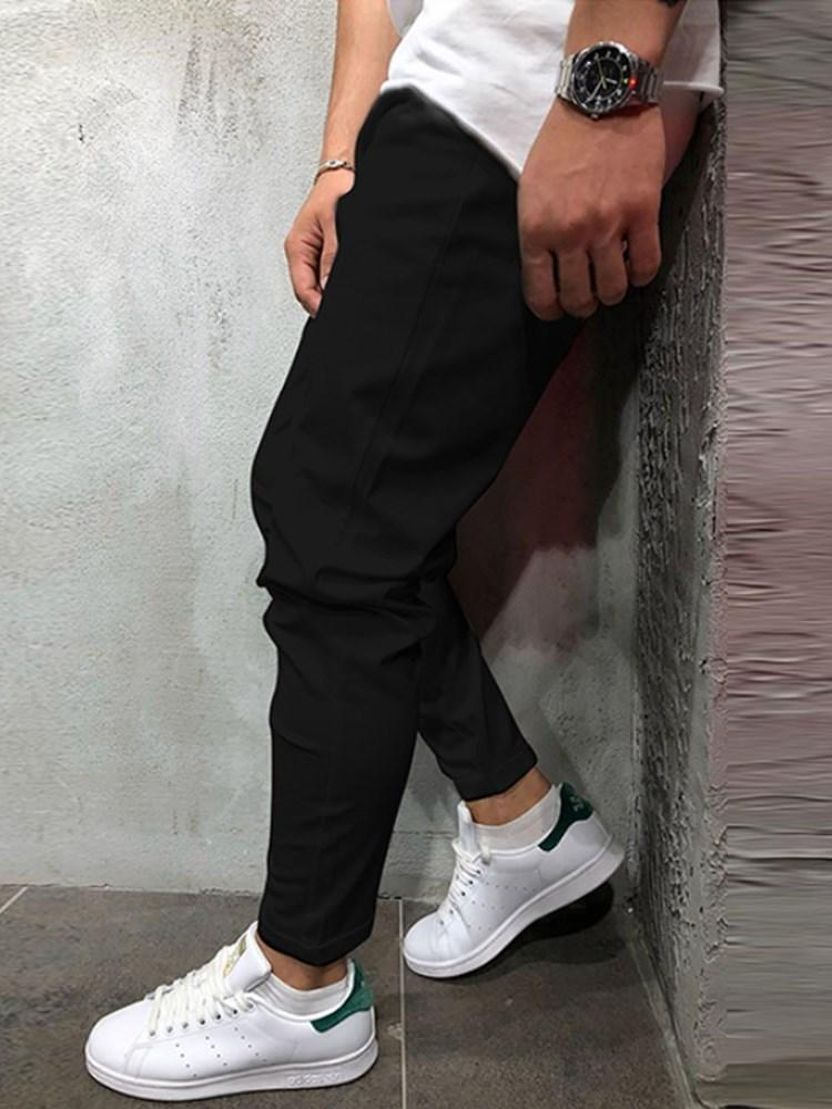 Plain Pencil Pants Pocket Casual Lace-Up Casual Pants