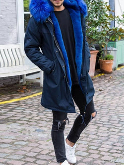 Patchwork Mid-Length Zipper Casual Down Jacket