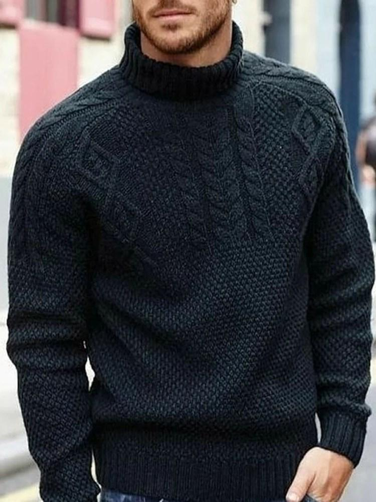 Standard Stand Collar Plain Loose Winter Sweater