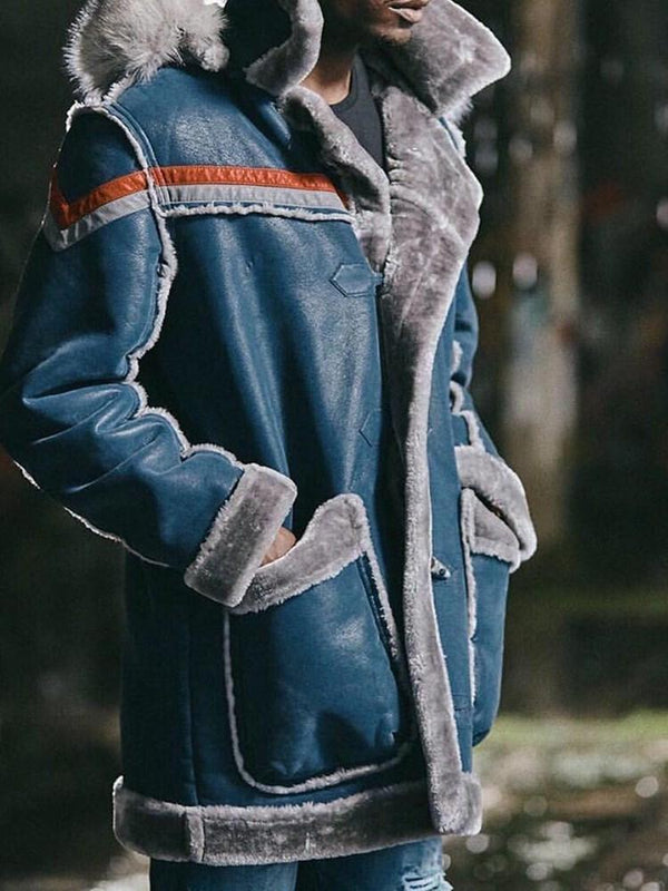 Hooded Patchwork Thick Straight Winter Jacket