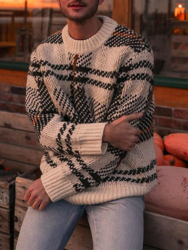 Mid-Length Color Block Loose Casual Sweater