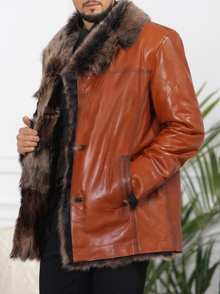 Color Block Mid-Length Lapel Winter Straight Leather Jacket