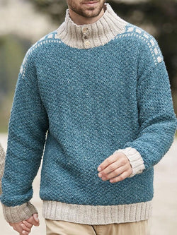 Color Block Standard Winter Casual Sweater