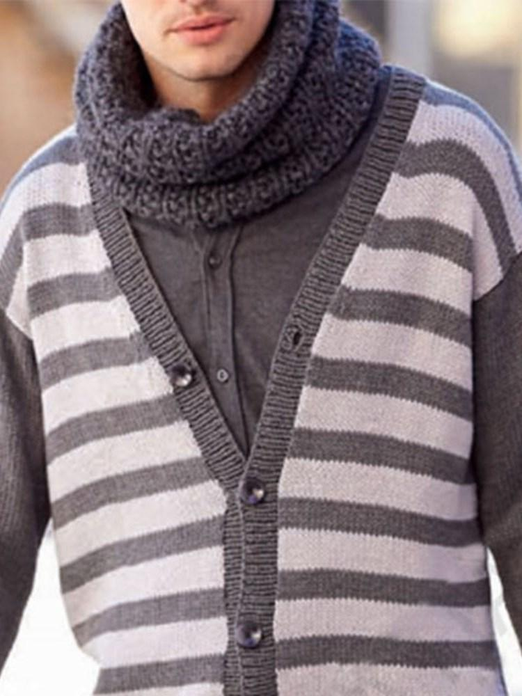 Standard Color Block Pocket Loose Single-Breasted Sweater