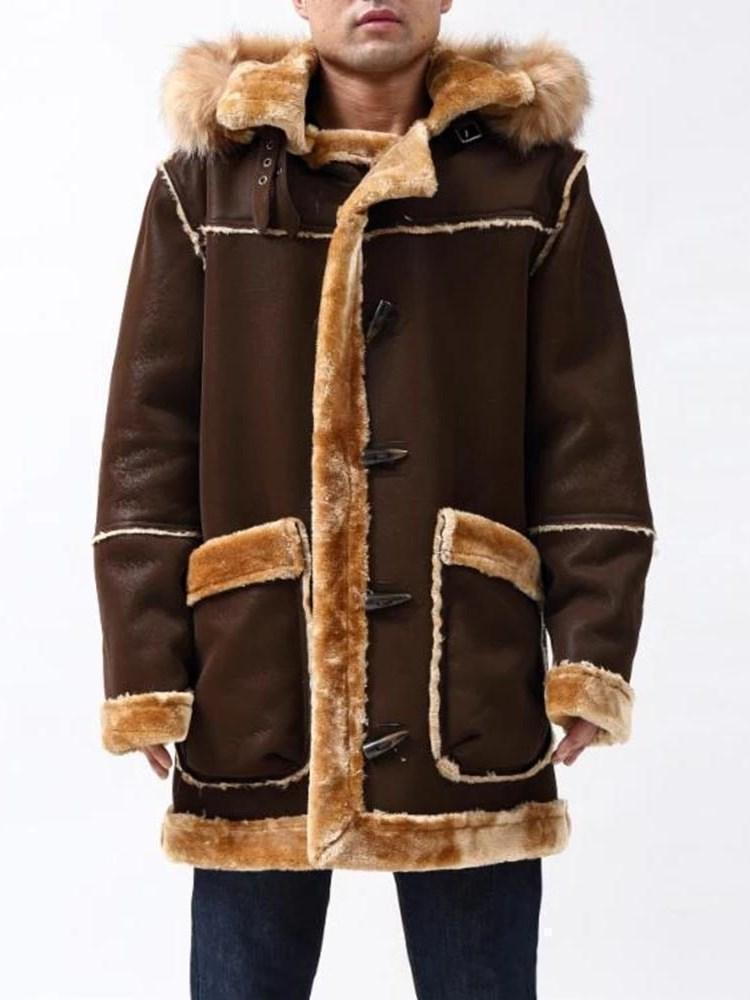 Hooded Color Block Mid-Length Straight Winter Coat