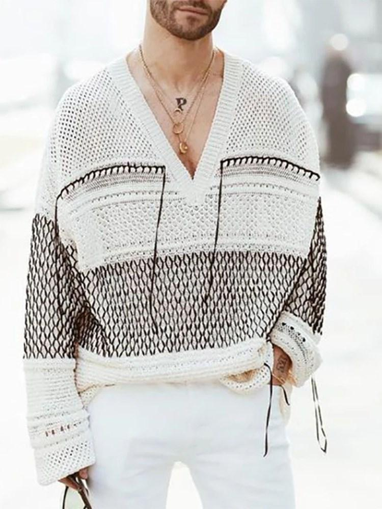 Standard Color Block V-Neck Loose Casual Sweater