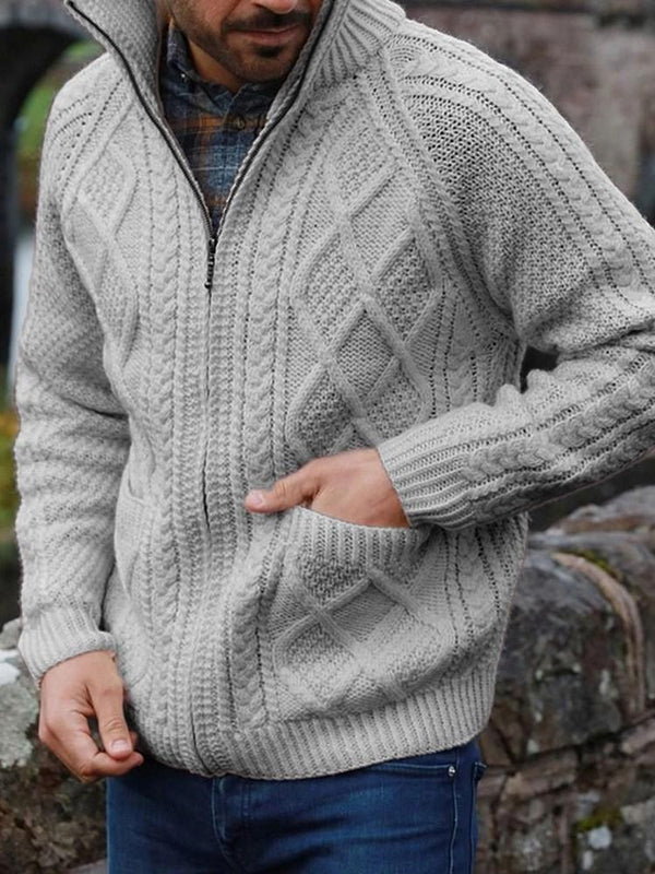 Standard Zipper Plain Casual Winter Sweater