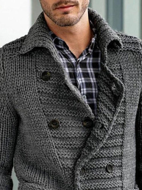 Standard Button Lapel Slim Single-Breasted Sweater