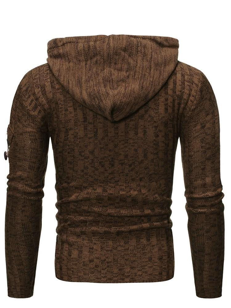 Standard Plain Hooded Slim Casual Sweater