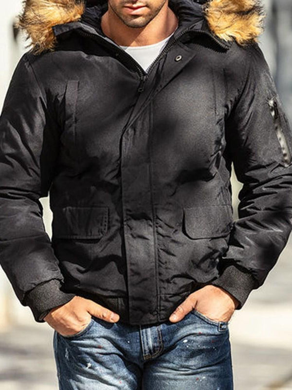 Hooded Patchwork Standard Zipper Casual Down Jacket