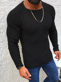 Standard Plain Round Neck Slim Casual Sweater