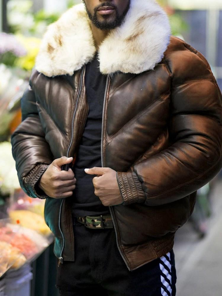 Standard Patchwork Color Block Casual Zipper Down Jacket