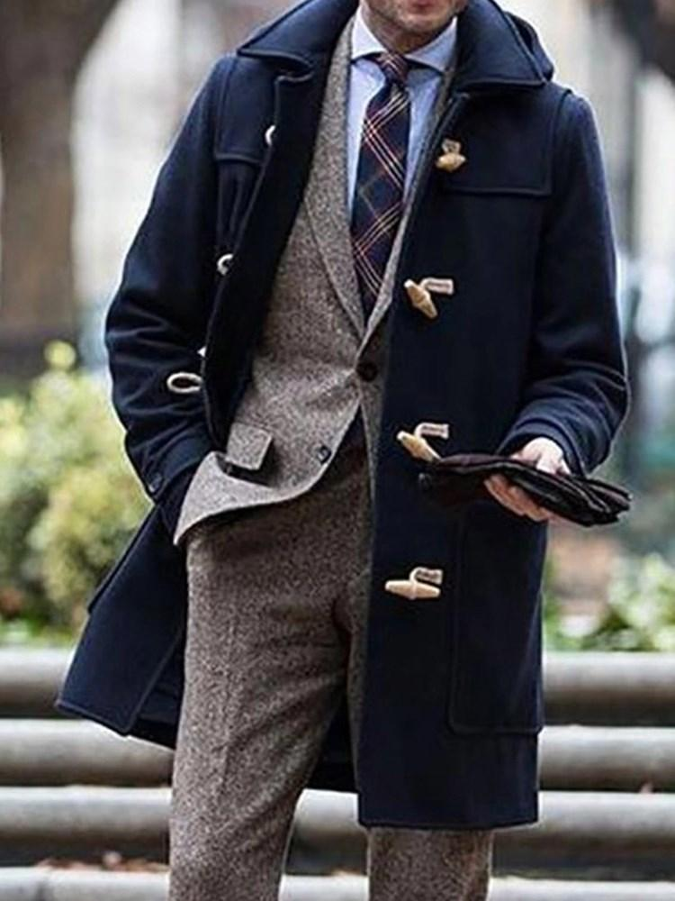 Lapel Plain Mid-Length Fall Casual Coat