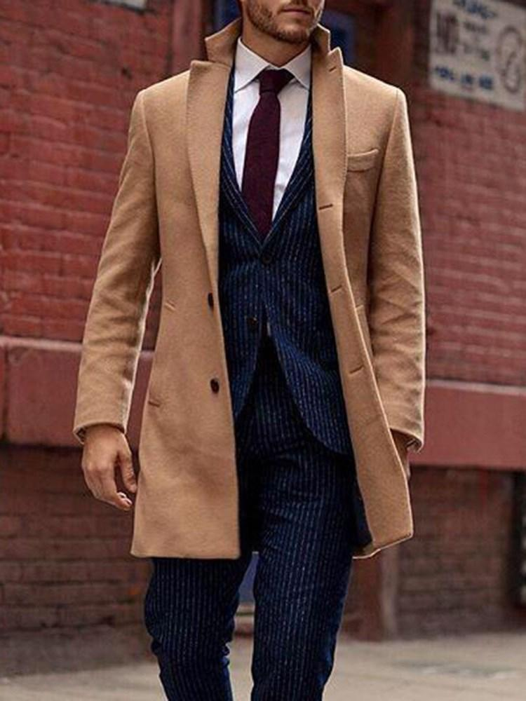 Button Plain Mid-Length Fall Single-Breasted Coat