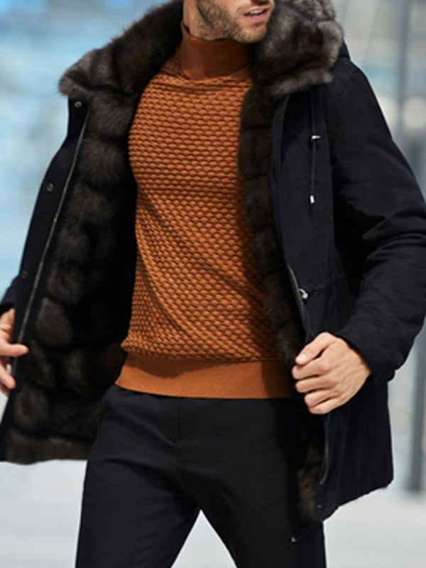 Mid-Length Button Casual Down Jacket