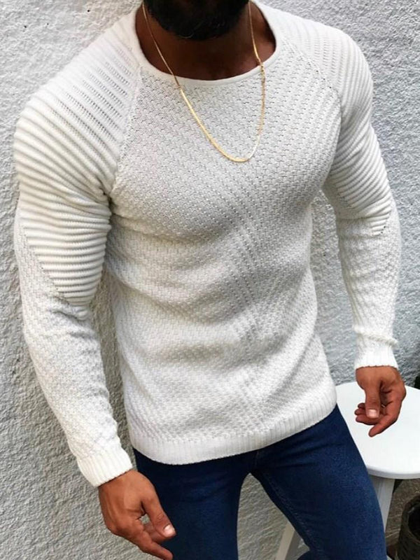 Mid-Length Plain Round Neck Slim Casual Sweater
