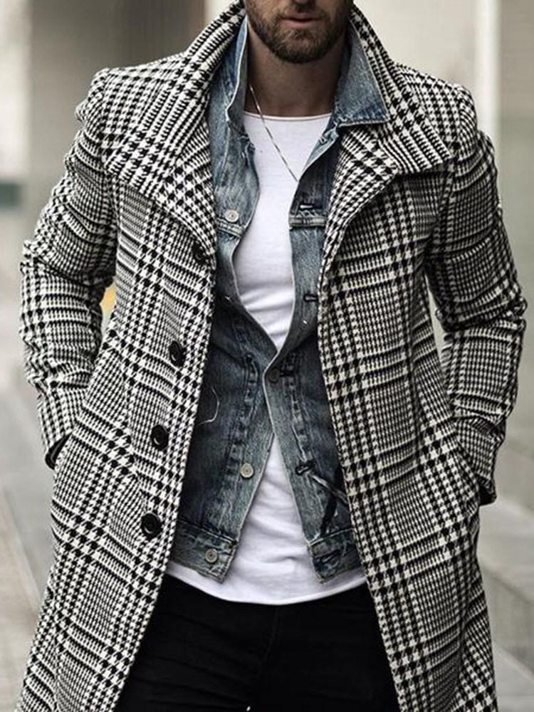Houndstooth Mid-Length Button A Line Casual Coat