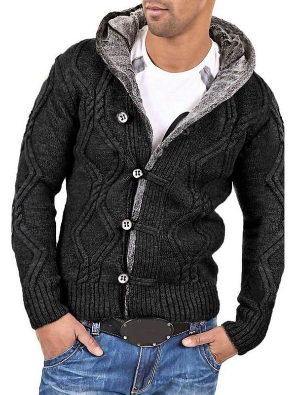 Button Hooded Standard Single-Breasted Casual Sweater